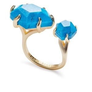 Kendra Scott Kayla Blue Howlite + Gold Open Ring